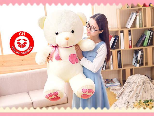Teddy Bär Teddybär Plüschbär Herz Liebe Schleife Valentinstag Geschenk XL 1.1m 110cm XL Frau Freundin Pink Rosa Süss Schleife