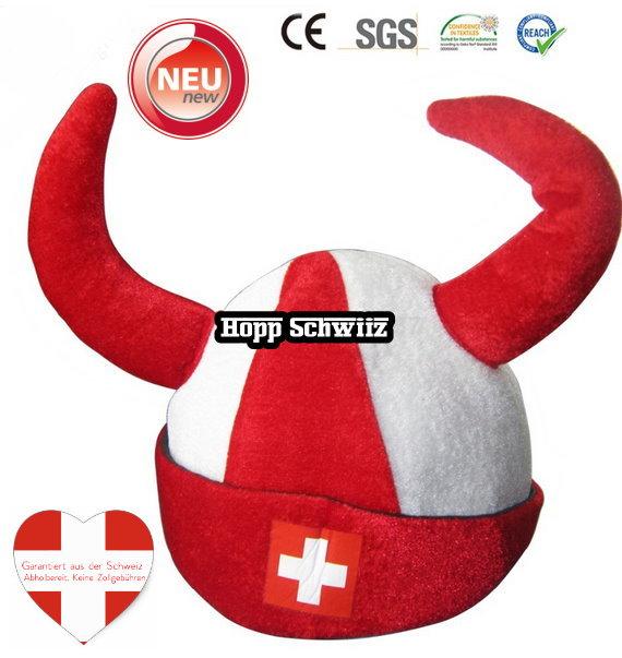 Schweiz Fan Kappe Mütze Hörner Fanartikel Hopp Schwiiz Fussball Hockey WM EM Fanshop