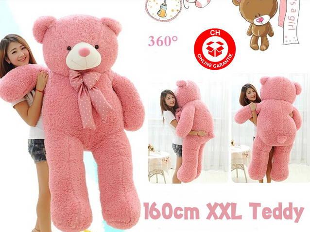 160cm Plüsch Bär Plüschtier Teddy Plüschteddy Teddybär Plüschbär Pink Rosa Geschenk Kind Frau