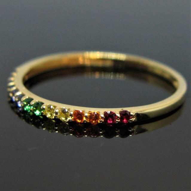 18 kt Gelbgold (Unikat) - Ring - 0.28 ct Grüner Turmalin, gelber Citrin, gelber Granat, roter Granat, Amethyst, Saphir, Topas