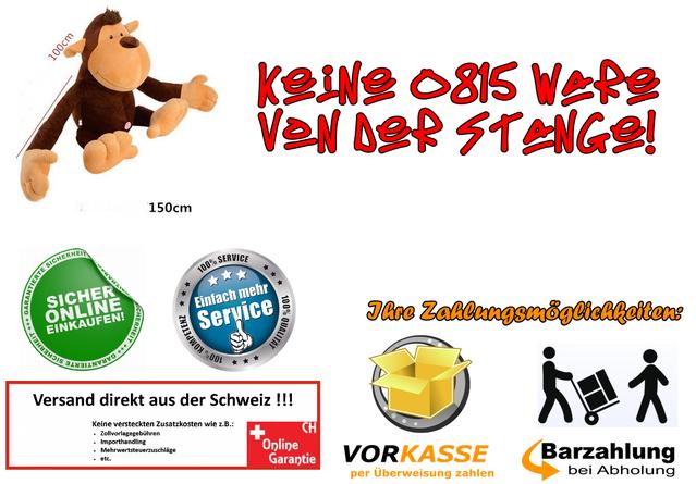 Affe Plüsch Plüschaffe Monkey XXL Plüschtier XXXL Kuschelaffe Äffchen 150cm 1.5m Geschenk Geburtstag Kind Kinder Frau Freundin