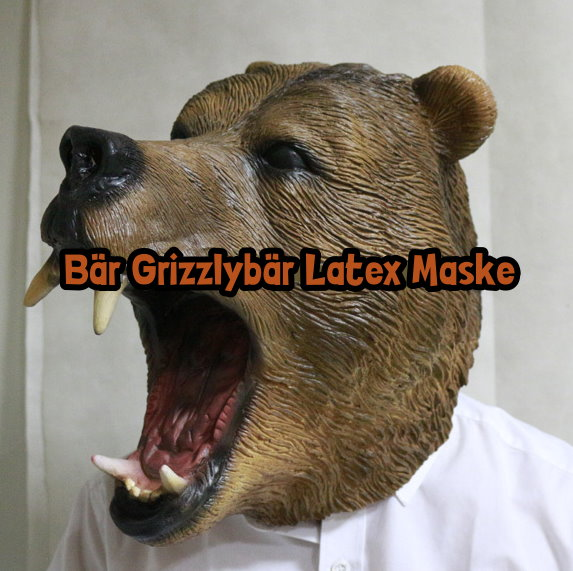 Bär Grizzlybär Latex Maske Tiermaske Kostüm Fasnacht Halloween