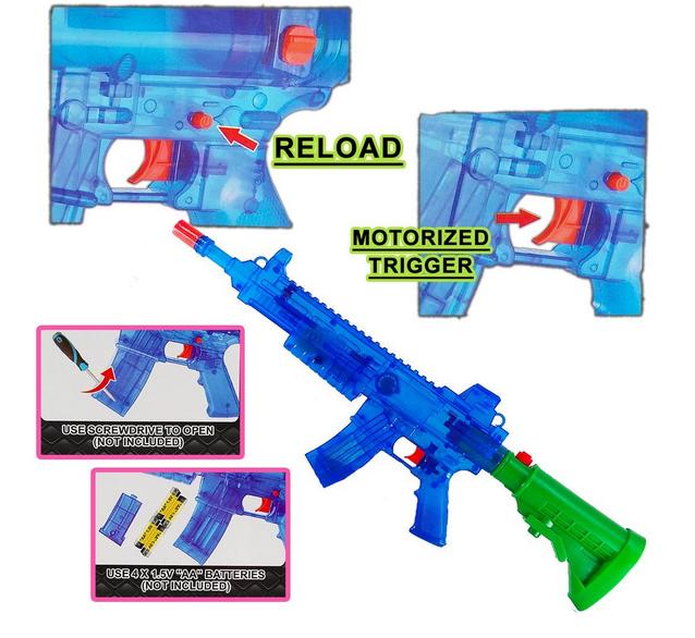 Batteriebetriebene Wasserpistole Wassergewehr Wasser Pistole Gewehr Spielzeug LED und Soundeffekte Sommer Kind Kinder Erwachsene Festival Schwimmbad Spass