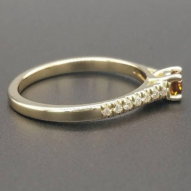Brownish Orange, Diamonds - 14 kt Gelbgold - Ring (Neu & mit Zertifikat)
