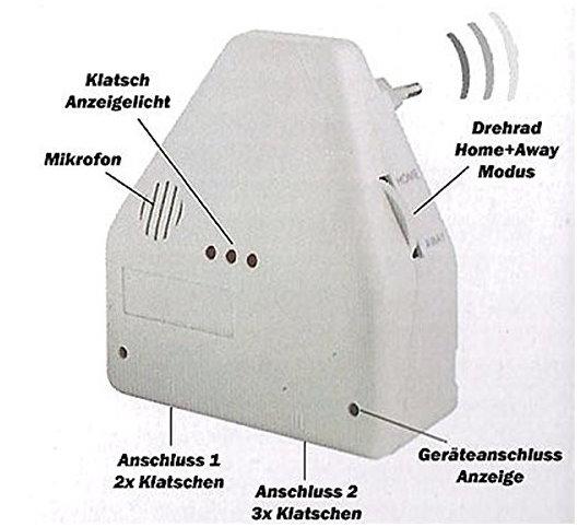 Clapper Klatsch Schalter Klatschschalter Akkustikschalter Steckdose CH Stromanschluss bekannt aus dem TV Werbung