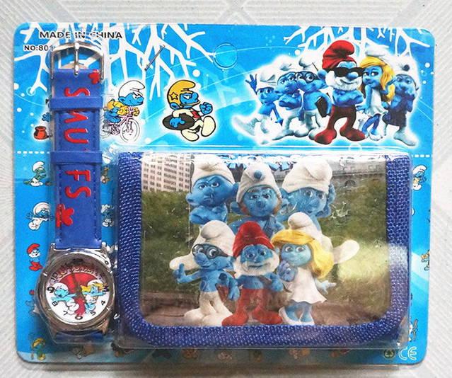 Die Schlümpfe Schlumpf Armbanduhr Kinder Uhr mit Geldbörse Portemonnaie Geldsack Geschenk Set