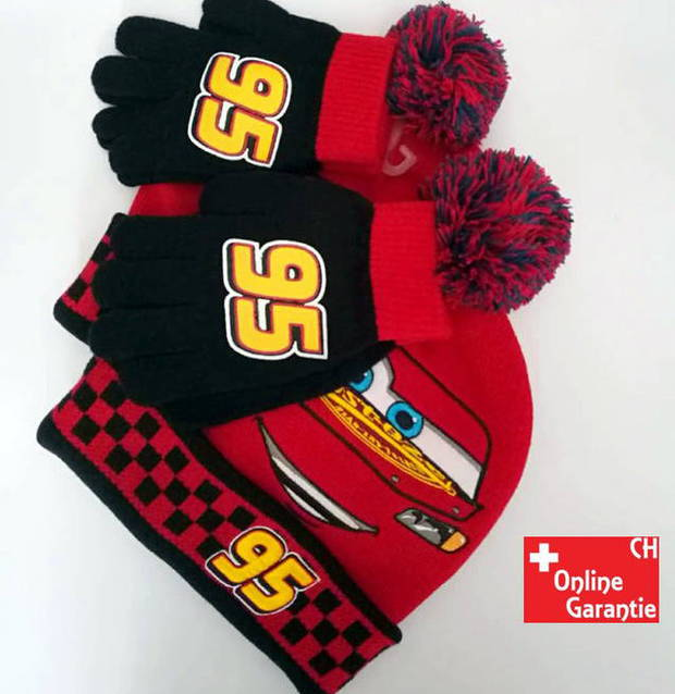 Disney Car Auto Lightning McQueen Winter Mütze Hut & Handschuh Set für Kinder Junge Kindermütze Winter