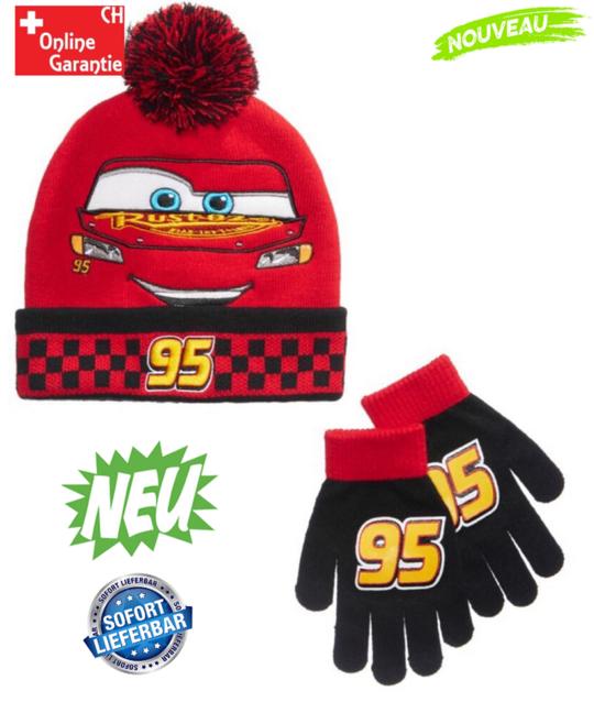 Disney Cars Lightning McQueen Boys Junge Wintermütze Mütze Kappe Beanie und Handschuh Handschuhe tolles Design Kindermütze
