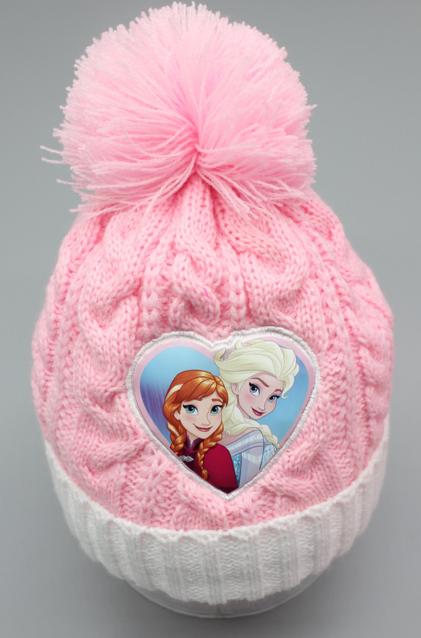 Disney Die Eiskönigin Frozen Mädchen Mütze, Schal und Handschuhe Set, Wintermützen für Kinder mit Anna und Elsa, warm, bequem, Bommelmütze Weihnachtsgeschenk für Mädchen Rosa Pink