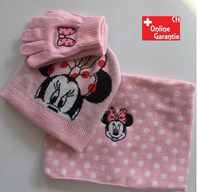 Disney Minnie Maus Winterset Mütze Handschuhe und Schal Kind Mädchen Set Pink Rosa