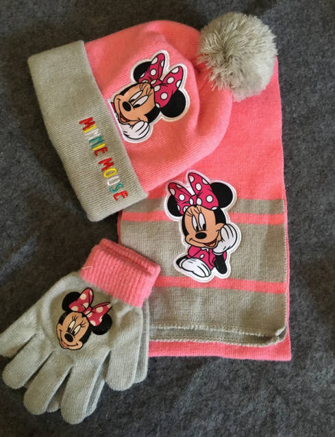 Disney Minnie Mouse Minnie Maus Bommel Mütze Schal Handschuhe 3-teilig Winter Set Kleidung Mädchen Bommelmütze Fan Accessoire