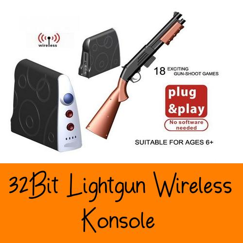 Drahtlose Wireless TV Gewehr Lightgun Video Konsole 32bit Familie Spass Zuhause