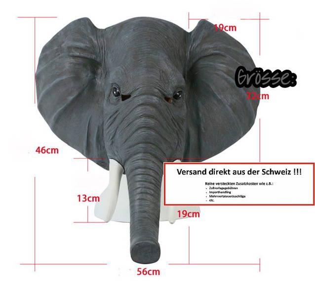 Elefanten Maske Elefantenmaske Tiermaske Fasnacht Halloween Latex Deluxe Model