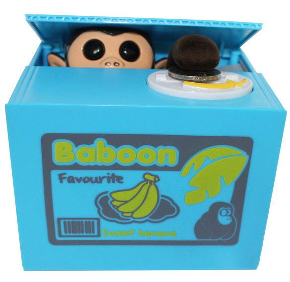 Elektrische Spardose Sparbüchse Affe Äffchen Pfötchen Münz Geldmünzen Sparschwein Geschenk