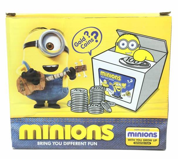Elektronische Spardose – Minions / Ich - einfach unverbesserlich Einfach die Münze auf das gelbe Feld legen, und schon schnappt sich ein Minion voll automatisch das wertvolle Edelmetall und verschwindet wieder in seinem Versteck.