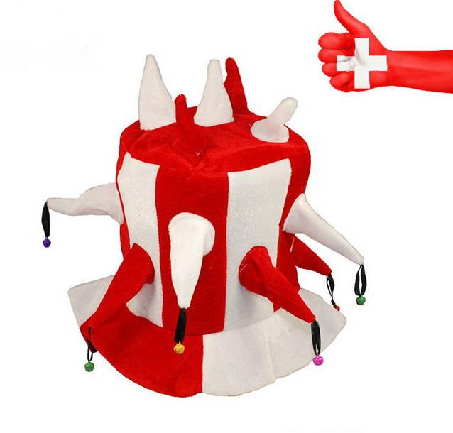 Euter Rot Weiss Schweiz WM EM Hut Narr Fan Mütze Kappe Hopp Schwiiz Schellen Fanshop