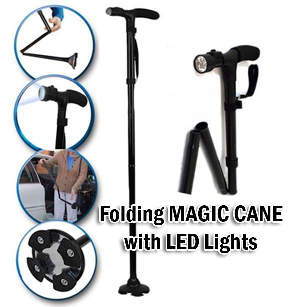 Faltbarer Gehstock mit LED Licht Trusty Cane Rentner Sicher verlässlich rutschfest Platzsparend