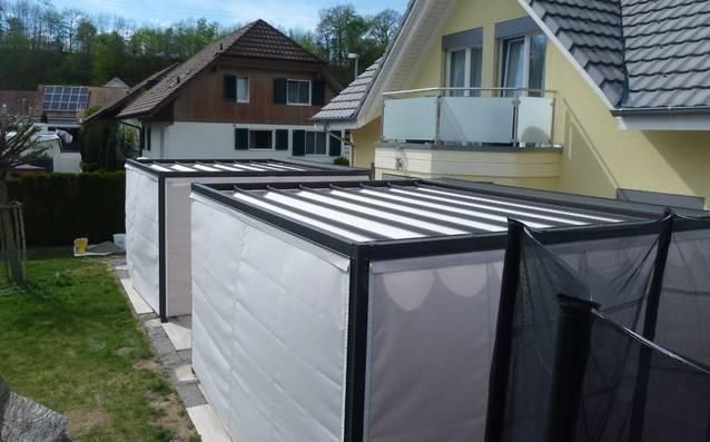Faltpergola 4x3m, Wetterschutz, Sichtschutz, Laube