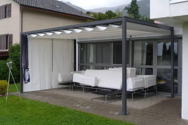 Faltpergola 4x5m, Wetterschutz, Sichtschutz, Überdachung