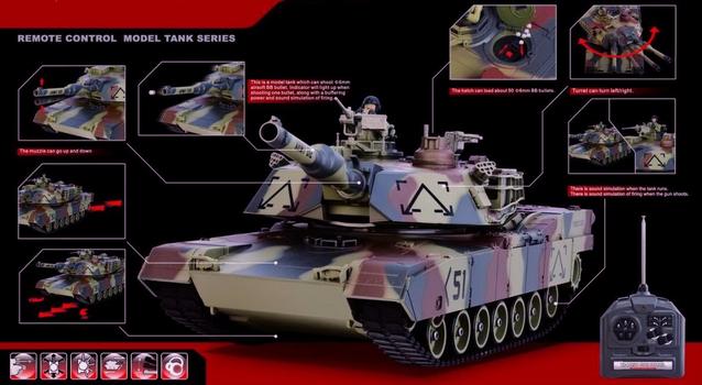 Ferngesteuerter Panzer Tank RC Camouflage Airsoft Softair BB Kugeln Schiess Funktion Komplettset Spielzeug 41cm XL