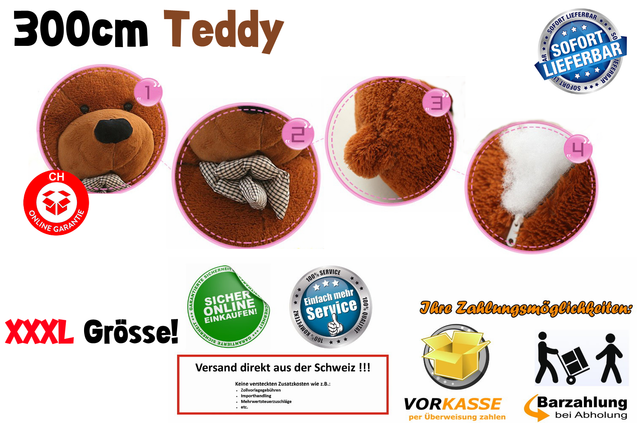 GIGANTISCHER TEDDYBÄR TEDDY BÄR KUSCHEL PLÜSCHTIER XXXL 300CM GESCHENK KINDER FRAU SUPERGROSS