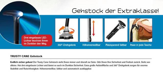 Gehstock mit LED Licht Trusty Cane Rentner Stock 360 Grad TV Werbung Faltbar Renter Altersheim Robust Sicher verlässlich rutschfest Integrierte Beleuchtung Schweiz
