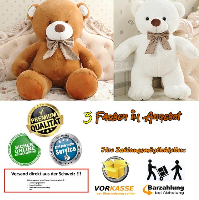 Gigantischer Riesen Teddy Teddybär Plüsch Bär Plüschbär Kuschelbär Plüschteddy Bärli Geschenk Weihnachten Hit Premium 3 Farben XXL Grösse