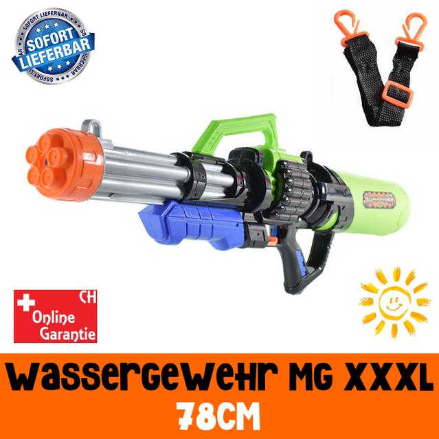 Gigantisches Wassergewehr Wasserpistole Wasser Pistole Gewehr XXXL MG Spielzeug Sommer 78cm 2.1L Tank Badi Kind Kinder Schweiz XXL Spielzeug Toy