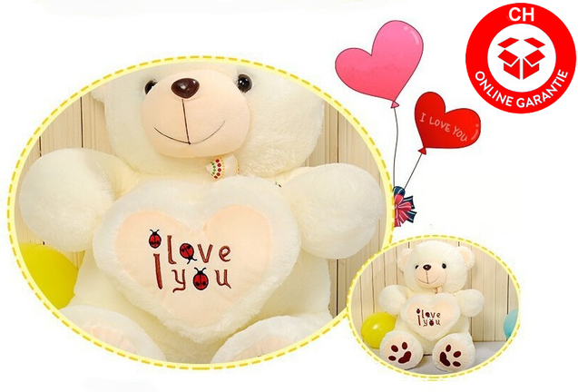 Grosser Teddy Bär Plüschbär mit Herz I love You Ich liebe dich Glücksbringer Geschenk Frau Freundin Kind