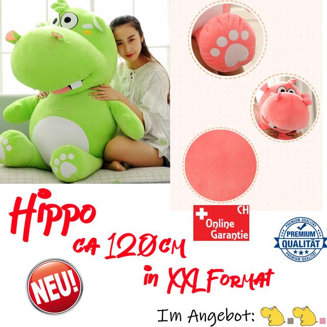 Grosses Plüsch Hippo Nilpferd Flusspferd Geschenk 120cm Pink Grau Süss Geschenk Kind Freundin Weihnachten