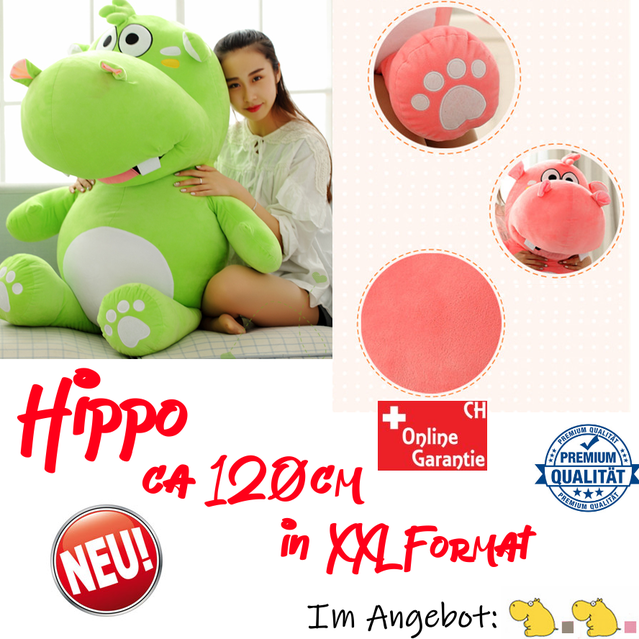 Grosses Plüsch Hippo Nilpferd Flusspferd Plüschtier XXL Kuscheltier Geschenk Grau Pink