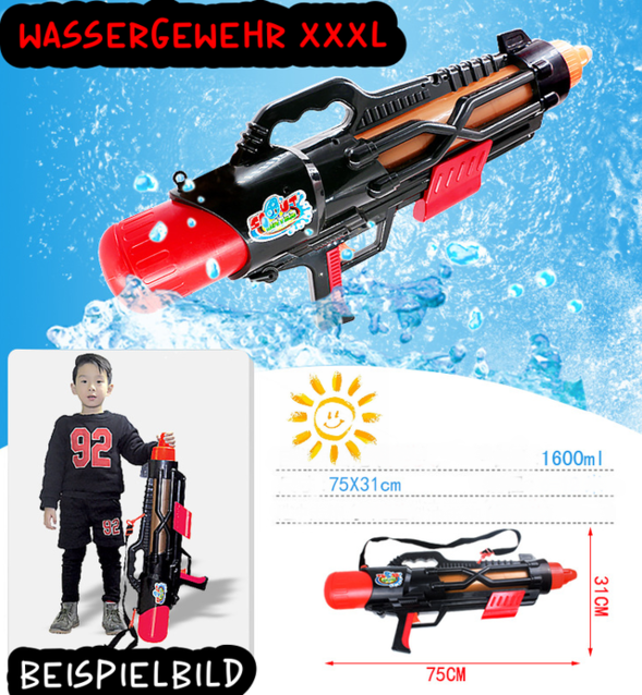 Grosses Wassergewehr Wasserpistole Wasser Pistole Gewehr mit Grossen 1600ml Tank / Behälter / Neu Badi Camping Garten