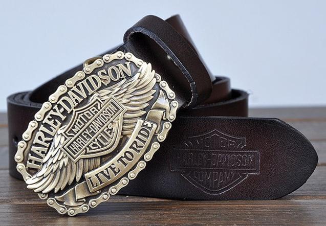 Harley-Davidson HD Harley Fan Davidson Gurt Gürtel Leder Echtleder Fan Geschenk Schwarz