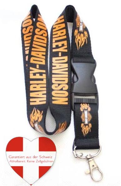Harley Davidson Harley-Davidson Schlüsselband Schlüsselanhänger Lanyard Fan Geschenk Flammen Harley