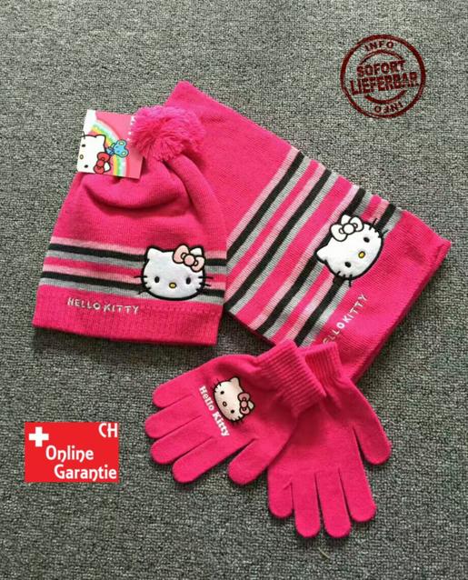 Hello Kitty Cap Mütze Handschuhe und Schal Mädchen Girl Winter Set Fan Pink Rosa