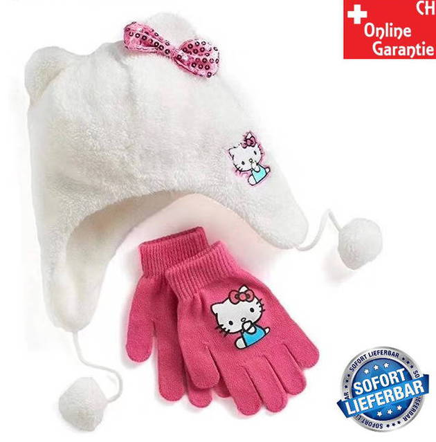 Hello Kitty Hellokitty Cap Mütze Handschuhe Handschuhen Mädchen Girl Winter Set Winterset Fan Pink Rosa Geschenk