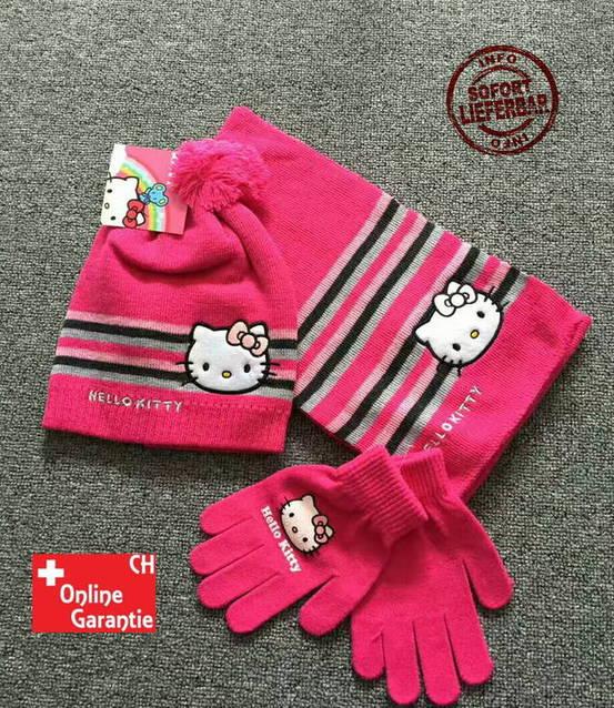 Hello Kitty Hellokitty HK Cap Mütze Beanie Handschuhe Handschuhen Schal Mädchen Girl Winter Set Fan Kleidung Pink Rosa