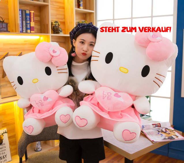 Hello Kitty Hellokitty Plüschtier Katze Pink Plüsch Mädchen Geschenk Kinder Herz Love Liebe Pink ca. 70cm XL Gross