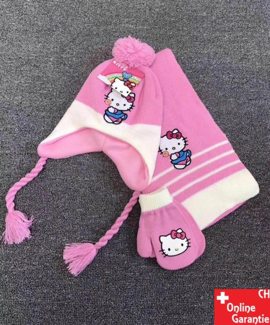 Hello Kitty Kinder Winter-Set 3 tlg. Winter-Mütze Schal Handschuhe - Einheitsgrösse für Kinder Mädchen Fan Hellokitty HK