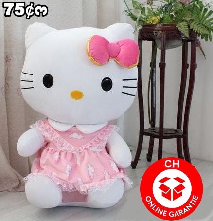 Hello Kitty XXL Plüsch Katze Figur Hellokitty 75cm Plüschtier Geschenk Mädchen Spielzeug Pink XL Gross und Süss