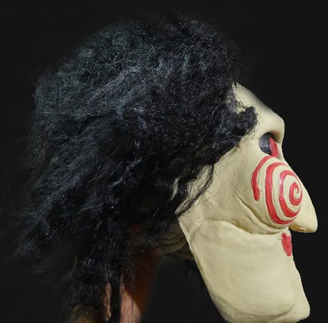 Horror Saw Kopfmaske Jigsaw Latex mit Kunsthaar Maske Horrormaske Film