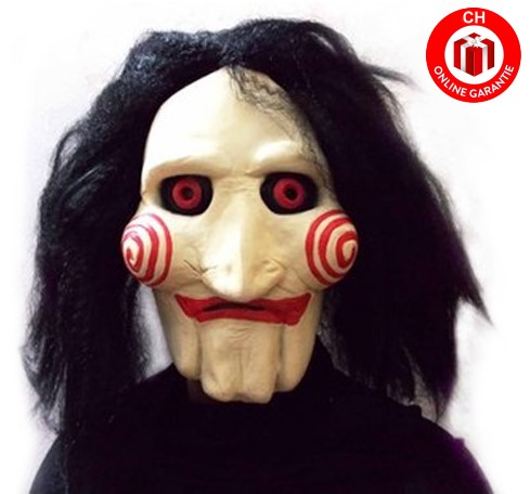 Horror Saw Kopfmaske Jigsaw Latex mit Kunsthaar Maske Horrormaske Film