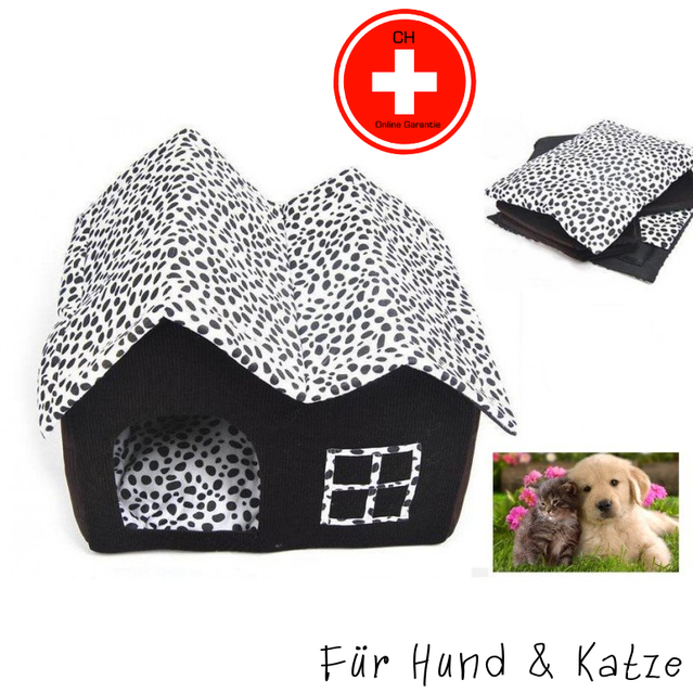 Hund Katze Schlafplatz Haus Hundebett Katzenbett zerlegbar Stoffhaus Neu