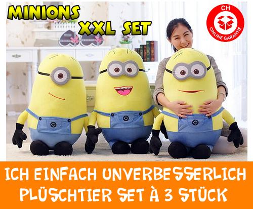 Ich Einfach Unverbesserlich Minion Minions Plüschfigur XXL 3er Set Geschenk Fan Kind Frau Freundin Sammler TV Kino Hit 80-85cm 3er Set