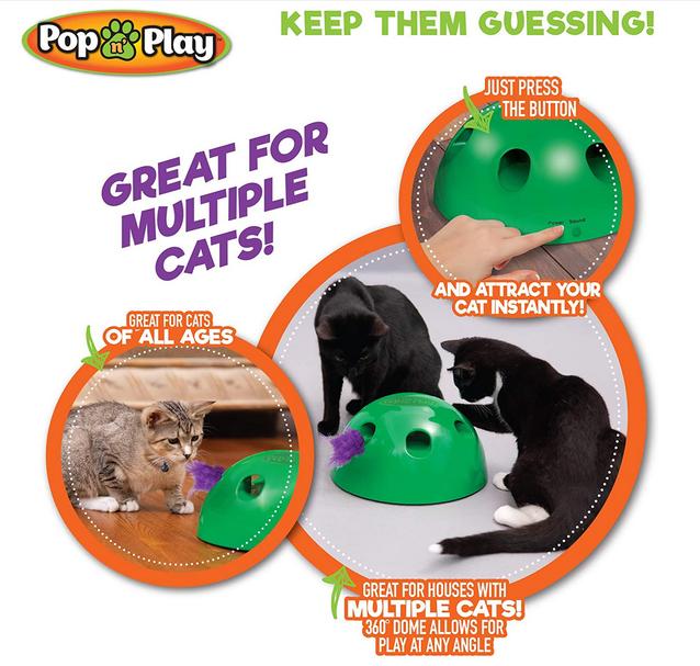 Interaktives Katzenspielzeug Pop N' Play Katzen Spielzeug Katz Maus und Federspielzeug Katze bekannt aus der TV Werbung Indoor Zuhause Deheimu