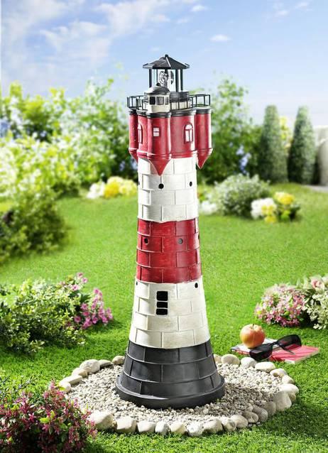 Leuchtturm mit Solaranlage - Rotweiss, 80cm hoch