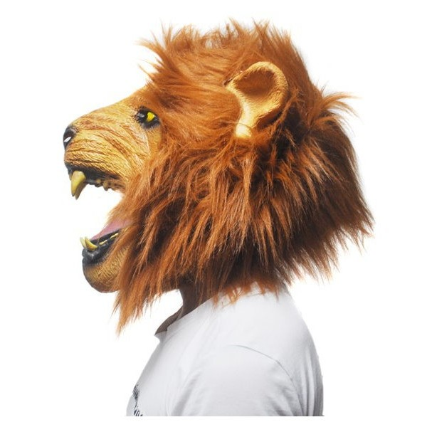 Löwen Maske Deluxe Tiermaske Löwenmaske Kostum Fasnacht Halloween Tiger