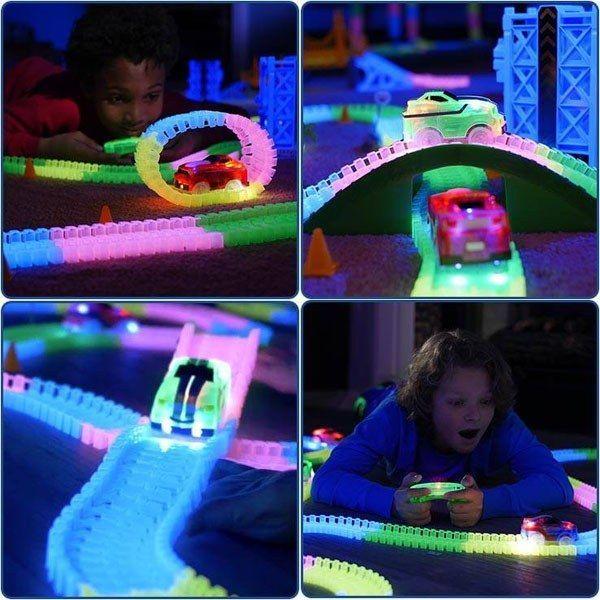 Magic Tracks RC Mega Set mit 2 ferngesteuerten Turbo Rennwagen Rennbahn Rannstrecke LED Glow leuchtet im Dunkeln Kind Kinder Spielzeug Weihnachten