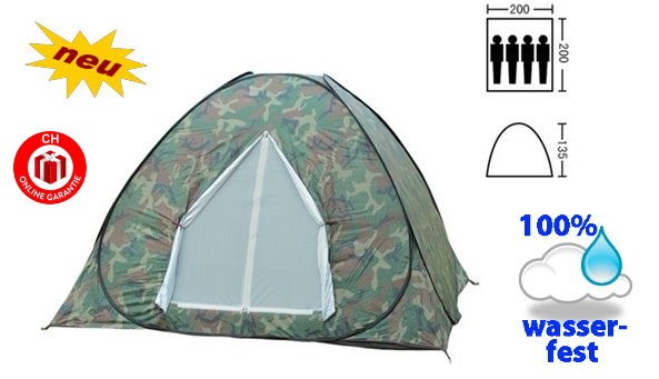 Militär Wurfzelt Schnellzelt Zelt Openair 3 Personen 2 Sekunden aufgebaut Openair Festival Jagd