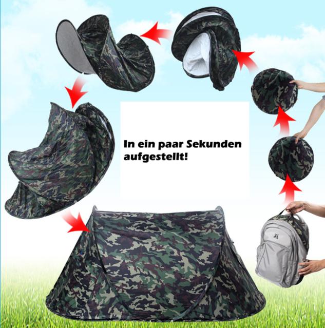 Militär Zelt Tarnung Pop-up Zelt Wurfzelt Camouflage Campingzelt 2 Personen Tarnzelt kleines Packmass Schweiz Openair Festival Jagd Jägerzelt